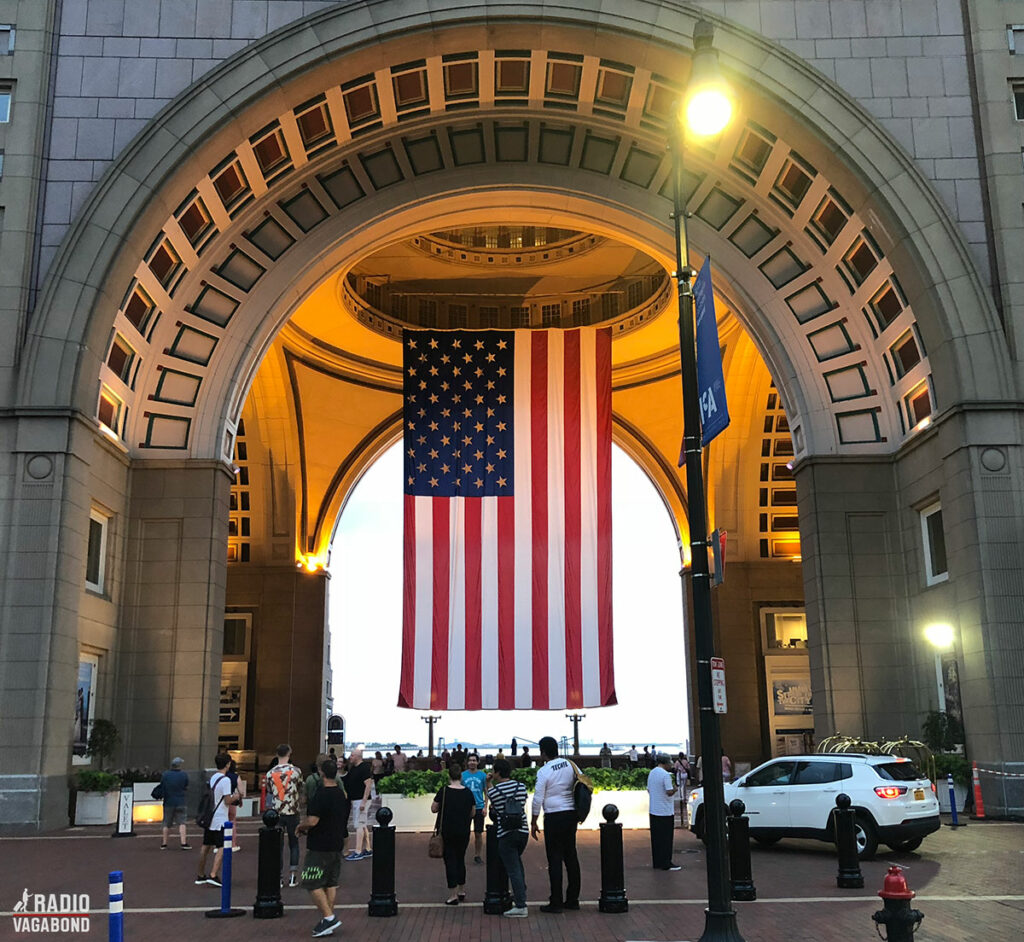 Gateway to Boston Harbor is marked by a huge flag