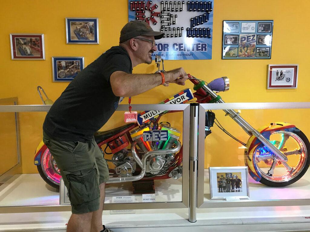"Jason ""on"" the PEZ motorcycle"