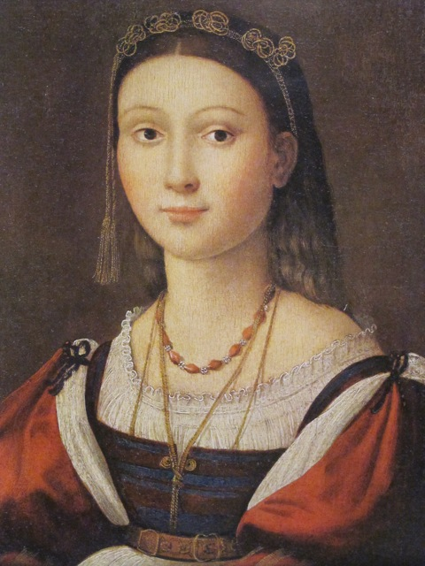 The painting itself is a tiny portrait of an adolescent girl with a moon-pale face and almond eyes, exquisitely dressed in Renaissance finery.